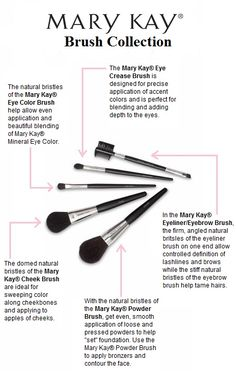 For a polished and professional application every time, apply your makeup with the Mary Kay® Brush Collection! Each brush is customized to help you get exactly the look and effect you want. Heather and I both have and use the Mary Kay brush collection Mary Kay Ash, Mary Kay Party, Mary Kay Cosmetics, Mary Kay Guatemala, Maquillage Mary Kay, Mary Kay Brushes, Mk Men, Selling Mary Kay, Beauty Products