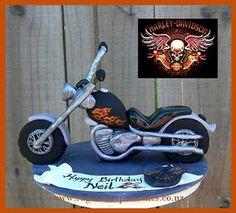Harley-Davidson Fondant Cakes | Harley Davidson Chopper Cake topper ~