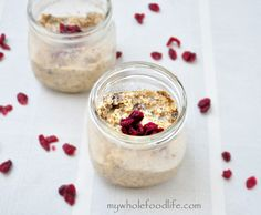 Coconut Vanilla Overnight Oats.  This is the easiest breakfast you will ever make.  Make a weeks worth on Sunday night and then it's just grab and go! Gluten free and vegan.