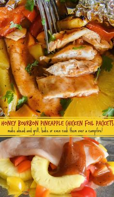 Honey Bourbon Pineapple Chicken Foil Packets: our favorite easy dinner made with Lawry's Honey Bourbon Marinade! You can bake these foil packets in your oven, grill them or even cook them over a campfire! #grill #chicken