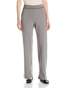 Jones New York Womens Rib Waist Easy Pant, Medium Grey Heather, Large