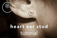 Heart Ear Stud Tutorial pdf earring finding by HelenaBausJewellery Wire Jewelry Earrings, Diy Jewellery, Unique Jewelry, Diy Jewelry Tutorials, Ear Studs, Jewelry Patterns, Diy Tutorial, Pdf, Hardware