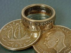COIN RING    British Half Penny   Choose The Year by TheCoinSmith, $34.98