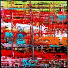 <p>XXS 02 - 2015 Petite peinture abstraite de la série XXS de format 20x20 cm. Toile peinte à la peinture acrylique avec des effets de matière importants.</p>