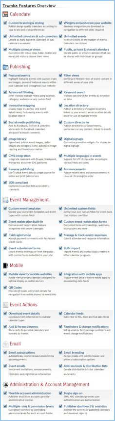 Trumba Connect provides more powerful, customizable features for event publishing and promotion than any other online event calendar software. Check out some of our features here and go to www.trumba.com for more information.