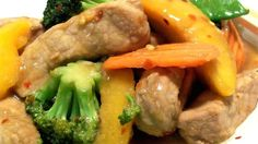 A yummy stir-fry that's quick and easy to make, this one's sure to impress!  Pork, vegetables, and peaches are stir-fried over high heat to produce a dish that can be served with either noodles or steamed rice.