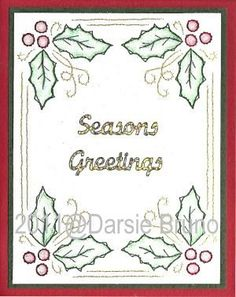 Holly Christmas Frame Paper Embroidery Pattern for Greeting Cards