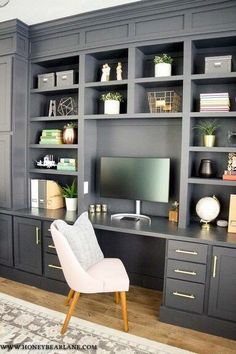 How to Build a Gorgeous DIY Office Built Ins Reveal How to Build a Gorgeous DIY Office Built Ins Reveal Danielle Garcia Home After what feels like years my nbsp hellip Office Built Ins, Built In Desk, Built In Bookcase, Bookshelf Wall, Bookshelves With Tv, Office Bookshelves, Built In Furniture, Living Room Bookshelves, Office Furniture