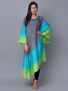 Grey Blue Green Ombre Silk Kaftan b Pakistani Dresses, Indian Dresses, Indian Outfits, Kaftan Designs, Kurta Designs Women, Stylish Dresses, Fashion Dresses, Silk Kaftan, Kaftan Kurti