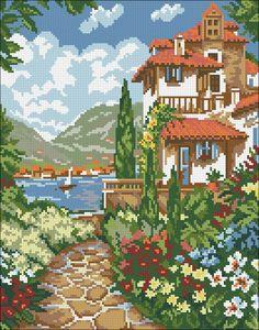Cross Stitch House, Cross Stitch Kits, Cross Stitch Charts, Cross Stitch Designs, Cross Stitch Patterns, Hand Embroidery Stitches, Cross Stitch Embroidery, Embroidery Patterns, Cross Stitch Landscape