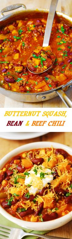 Delicious Butternut Squash, Bean, and Beef Chili. Healthy, filling, and gluten free - it makes a great dinner for everyone!   Top it with Greek yogurt!  #soup #stew
