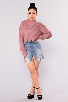 f24c6fb4c0d8 Avelina Long Sleeve Sweater - Mauve Turtleneck Outfit