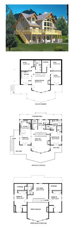 Hillside House Plan | Total Living Area: 2281 SQ FT, 3 bedrooms and 3 bathrooms. #hillsidehome