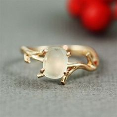 Rough Green Amethyst Twig Ring