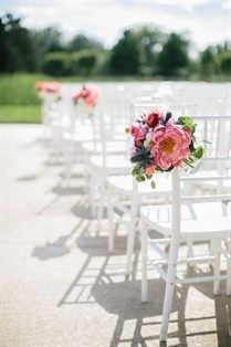 Romantic & pretty peony chair markers.. skipping every other one