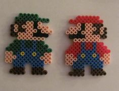 Mario and Luigi Perler Beads by x-Shayla-x.deviantart.com on @deviantART