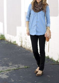 chambray, black skinnies, leopard flats and leopard scarf