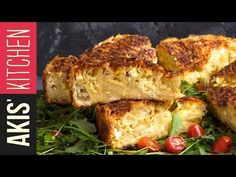 Greek feta cheese pie by Greek chef Akis Petretzikis. An authentic, traditional Greek feta cheese pie recipe that has a delicious cheesy souffle-like filling! Greek Cheese Pie, Cheese Pies, Greek Recipes, Pie Recipes, Feta, Cheese Pie Recipe, Cheese Souffle, Lasagna Casserole, Spinach Lasagna