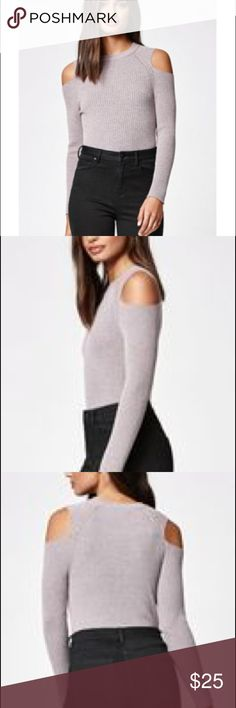 Kendall & Kylie Cold shoulder Knit Top M Never worn. Cute grey/purple color (mauve?) size medium, but runs small. I'm usually a XS/S. Like new condition! Rayon/spandex Kendall & Kylie Tops Tees - Long Sleeve