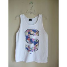White Tropical Floral Print Number 85 Jersey Tee T Shirt Tank Top Muscle Shirt Sz Small