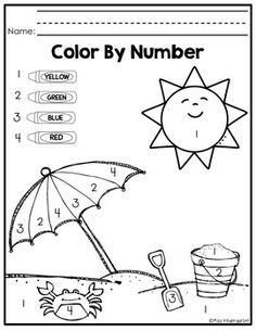color by numbers printables for kids beach fun pinterest beach