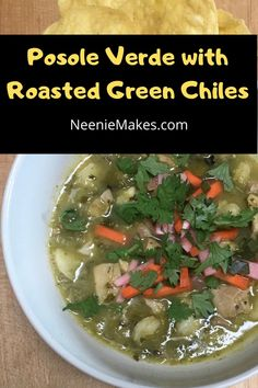 This is by far our favorite soup recipe. Chock full of chicken, tomatillos and roasted green chiles with crunchy fresh vegetables sprinkled on top for serving. Mexican Food Recipes, Soup Recipes, Dairy Free, Gluten Free, Chock Full, Fresh Vegetables, Soups And Stews, Roast, Chicken