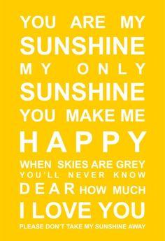 You Are My Sunshine Print - BRIGHT YELLOW