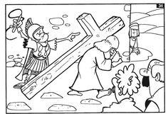 dibujos para colorear de Jesús caminando con la cruz