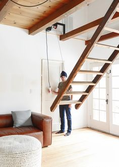 Our Loft Ladder Goes Electric! - Yellow Brick Home Mezzanine Bedroom, Loft Room, Bedroom Loft, Loft Staircase, Attic Stairs, Staircase Design, Garage Stairs, Tiny House Stairs, Retractable Stairs