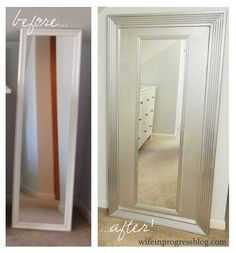 take an ordinary over-the-door style mirror and afix it to an old door or table top. add trim and paint. i would add pictures or maybe decorative paper to the dead space b/t the mirror and trim.