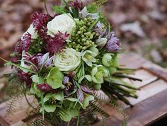 Bouquet - Woodland Fern & Fritillaria, Astrantia, Hellebores & Roses, gorgeous colour combinnation...