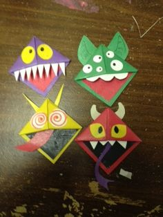 Monster Book Marks  Difficulty- Medium     http://tallystreasury.com/2011/02/corner-page-bookmarks-3/