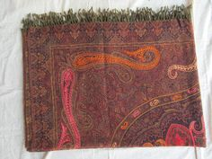 BOILED WOOL SHAWL PAISLEY HAND EMBROIDERY DESIGN JAMAWAR CASHMERE THROW BED 3986