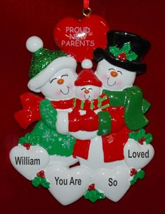 Personalized New Parents Christmas Ornament Our Family Grows | RussellRhodes.com Family Christmas Ornaments, Family Ornament, Baby Ornaments, Personalized Christmas Ornaments, Perfect Christmas Gifts, 1st Christmas, New Baby Gifts, Parents, Winter Ideas