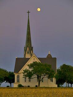 little white church in the moonlight