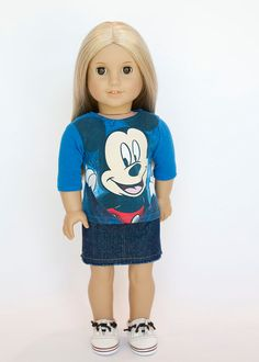 American Girl Doll Upcycled Mickey Mouse T Shirt