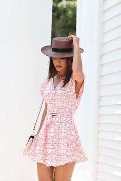 Dress: Privacy Please (Revolve) | Espadrille: Carmen Steffens | Bag: Dior | Hat: Janessa Leone | Sunglasses: BCBG