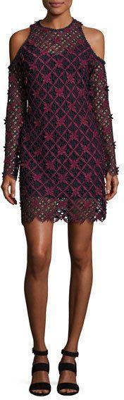 Self-Portrait Floral Grid Cold Shoulder Dress, Multi