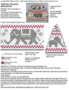 Last week I came up with an Elephant chart for someone at Ravelry (the big elephant is adapted from an old filet . Fair Isle Knitting Patterns, Knitting Charts, Knitting Stitches, Knitting Yarn, Baby Knitting, Knitting For Kids, Knitting Projects, Elephant Hat, Knitted Hats