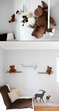 Branch swing shelf, cute for hanging stuffed animals and books.