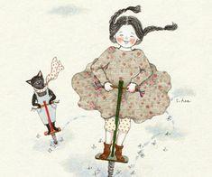 bounce, girl, and illustration image Art And Illustration, Watercolor Illustration, Watercolor Art, Creation Photo, Here Kitty Kitty, Korean Artist, Cat Art, Folk Art, Art Drawings