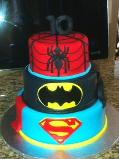 Superhero Birthday Cake Spiderman Batman Hulk and Superman