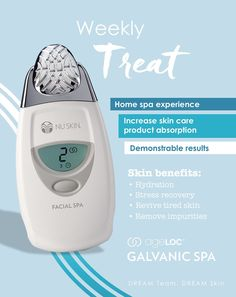 Galvanic spa device helps iron out wrinkles in minutes. Spa quality Galvanic treatment reduces appearance of fine lines and wrinkles and gives you younger looking skin. Results are seen after the very first treatment ! Galvanic Body Spa, Ageloc Galvanic Spa, Glowy Skin, Home Spa, Spa Treatments, Beauty Care, Beauty Box, Beauty Secrets, Anti Aging Skin Care