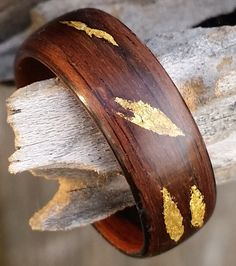 ebony bent wood ring with rustic 22k gold leaf inlay