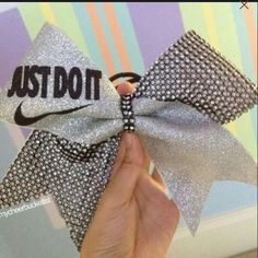 Silver glitter just do it bow!