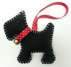 Scottie Dog Felt Christmas Decoration