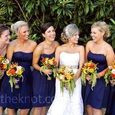 navy blue bridesmaid dress wedding party photo - Google Search
