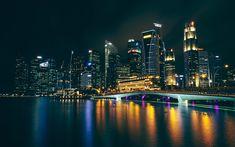 Télécharger fonds d'écran 4k, à Dubai, le pont, les paysages nocturnes, les paysages urbains, les ÉMIRATS arabes unis, Émirats Arabes Unis