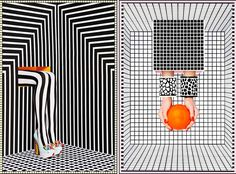 MINTY WARES | Graphic and bold optical illusions used within visual merchandising and set design. Black and white grid and colour pops. Camille Walala Prints | Yellowtrace