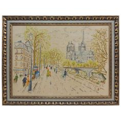 Vintage Embroidery Framed Paris Street Scene Tapestry | From a unique collection of antique and modern textiles and quilts at https://www.1stdibs.com/furniture/more-furniture-collectibles/textiles-quilts/